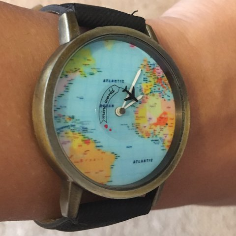 Mini World Map Watch With Black Strap Watch Hand Is A Small Depop