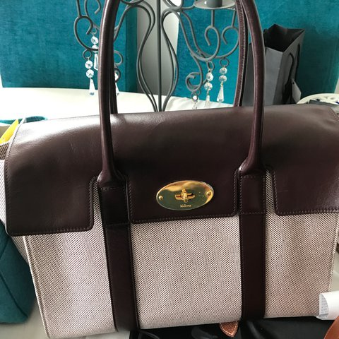 Mulberry new Bayswater bag. Oxblood leather and fabric. Used - Depop 13ccbf1126ab6
