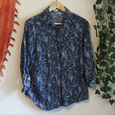 57ac64766db76d F&F Paisley navy blue thin shirt/blouse ✨ perfect for wear, - Depop