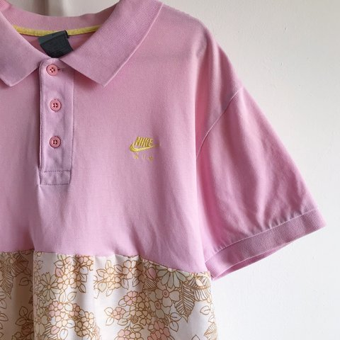 d21d1aa4 Reworked dress made using a vintage, pink Nike air polo and - Depop