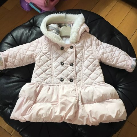 ea20b9044df3 Gorgeous Burberry Pale Pink Girls Padded Coat for Baby Girl. - Depop