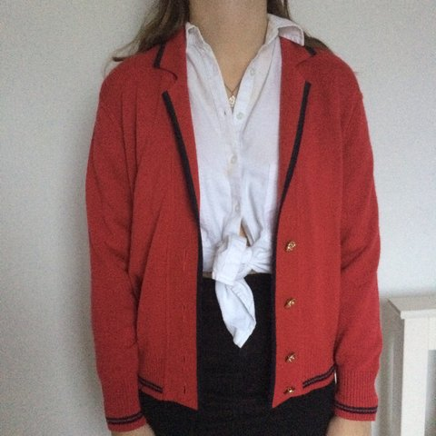 ac3d5a16ad Cute red cardigan says size 16 but on size 8 model (fits X - Depop