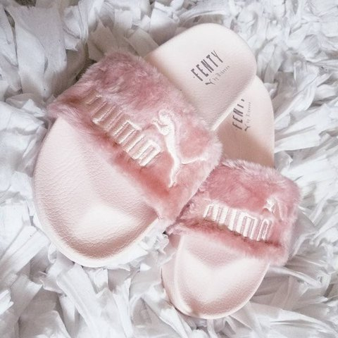8d58d8600b1 PUMA Fenty Rihanna Pink Fur Slides (AUTHENTIC) 100% PUMA in - Depop