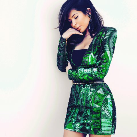1ce60f7d Unused / Unworn limited edition Balmain X H&M Green Sequin S - Depop