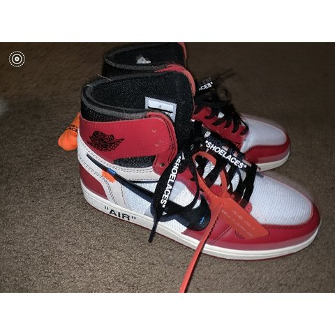 """0880be147437d4 Off White Air Jordan Retro """"Chicago"""" 1s On sale from Stock - Depop"""