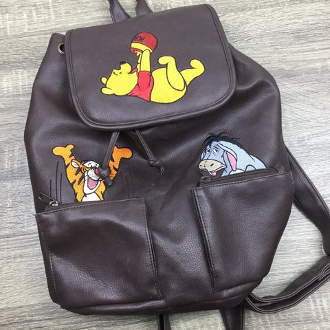 2d8d7965f9 🔥🔥🔥 Vintage Winnie The Pooh Brown Leather Backpack - - to - Depop