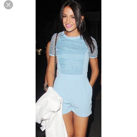 0d66ca79a1 Topshop pale baby blue playsuit as worn by Michelle Keegan - Depop