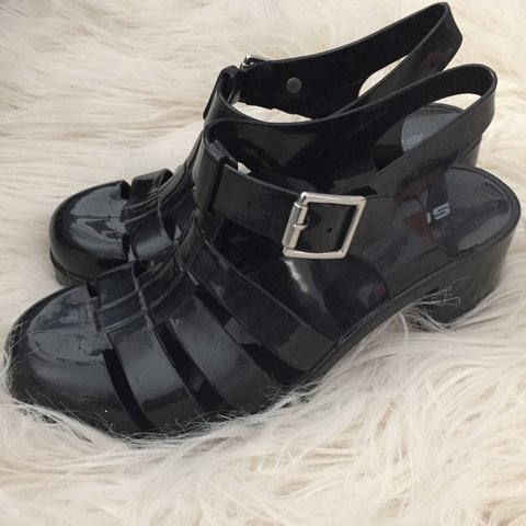 de08a899512 black ju ju jellies inspired 90 s jelly heels shiny jelly w  - Depop