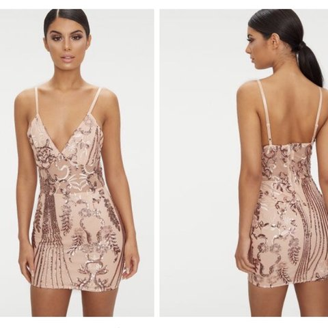 a7cf2836 @rmcinultyy. 3 months ago. Glasgow, United Kingdom. Rose Gold Strappy Sheer  Panel Sequin Bodycon Dress ...