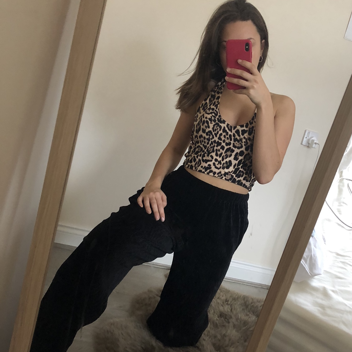 Urban Outfitters Uo Black Wide Leg Velvet Trousers, by Depop