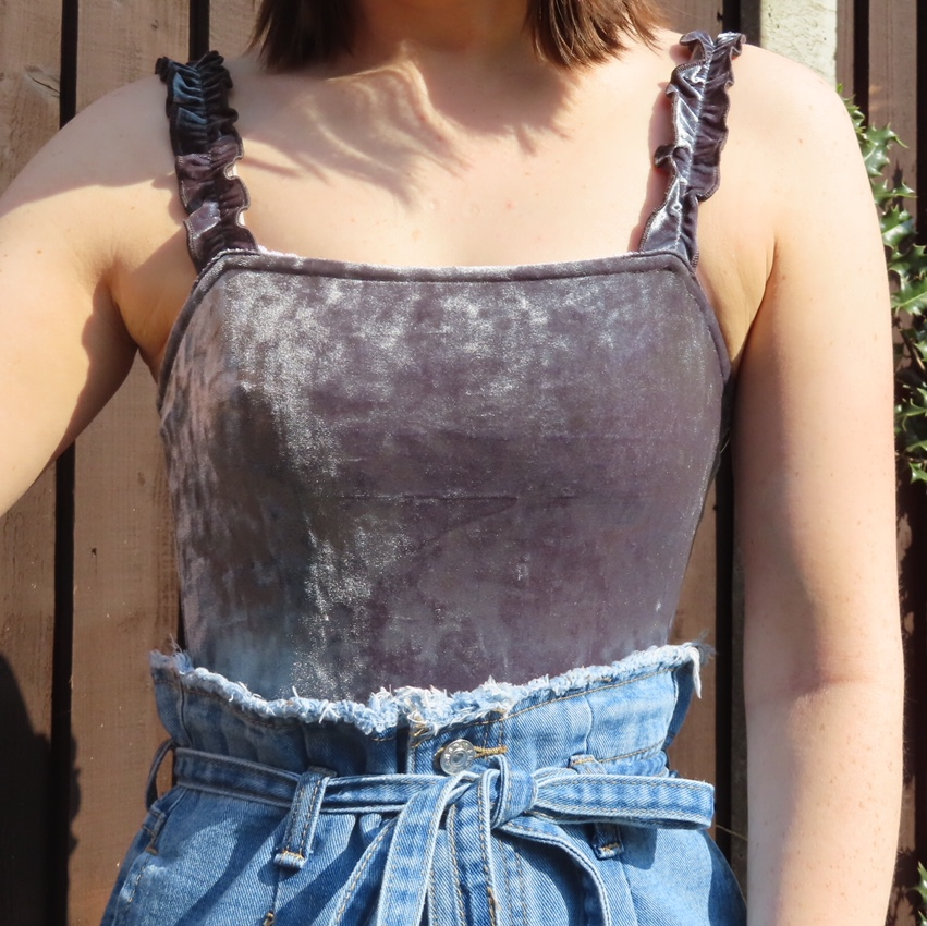 Urban Outfitters Velvet frill strap bodysuit Size Large RRP £24 NEW Grey