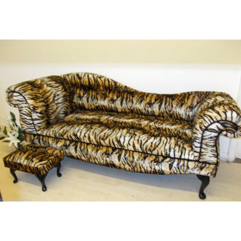 ANIMAL TIGER PRINT CHAISE LOUNGE DOUBLE SOFA (COMES WITH Be   Depop