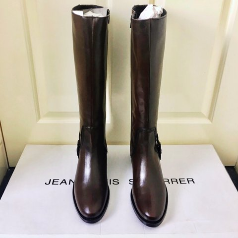 3b3679191bc9 Brown Leather Gold Buckle Knee High Boots by Jean-Louis Size - Depop