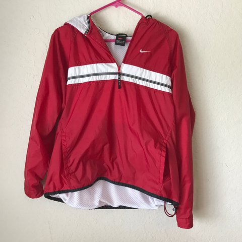 472de56c4762 Red Nike hoodie rain jacket Windbreaker    like new    small - Depop