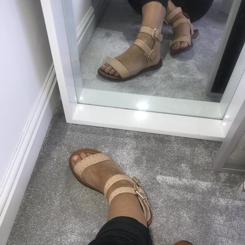 85766f8ee62f Topshop pink camel gladiator sandals with gold studs and so - Depop