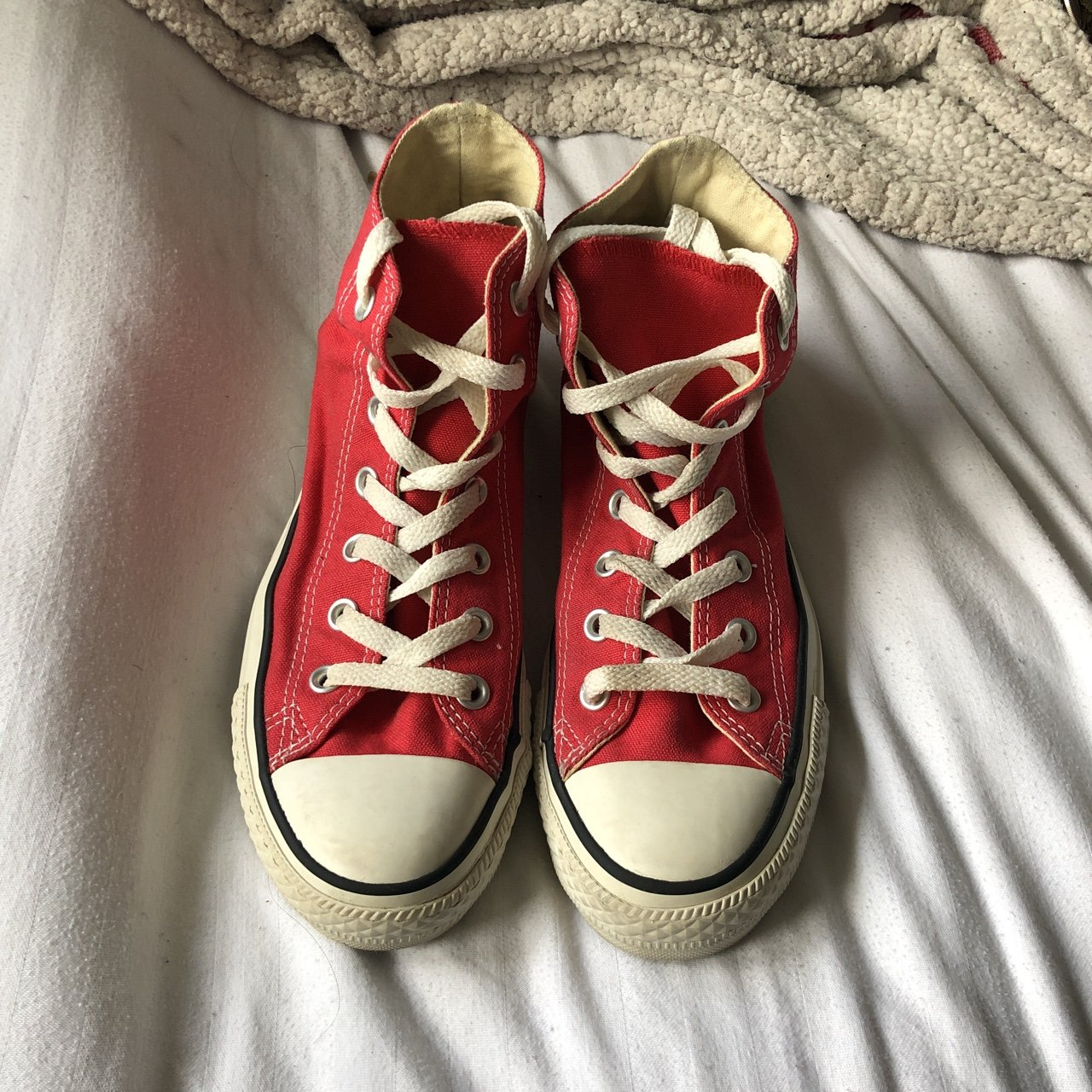 Red all star converses➰size 6➰barely worn  converse  red - Depop da842bb6c