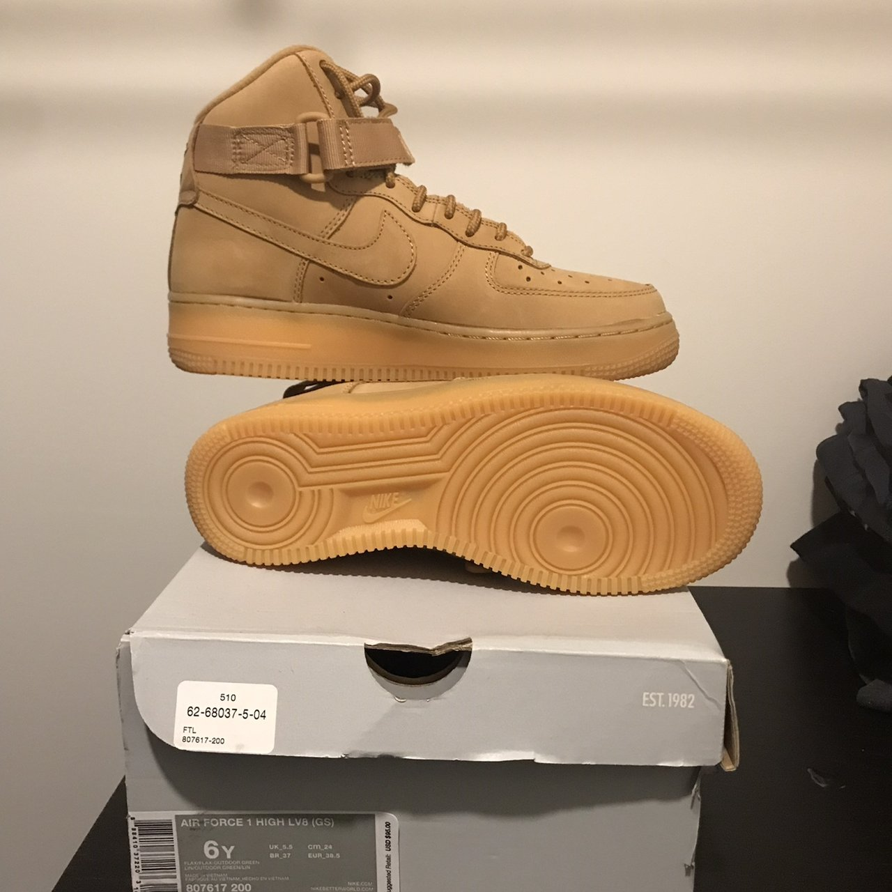 outlet store 33e4d 628fc Wheat Nikes . NEVER WORN . Size 6 - Depop