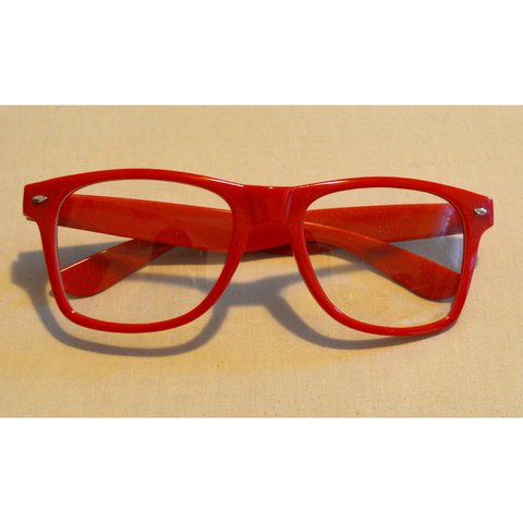 71b718f442 Red clear lens aviator fashion glasses. Plastic frames