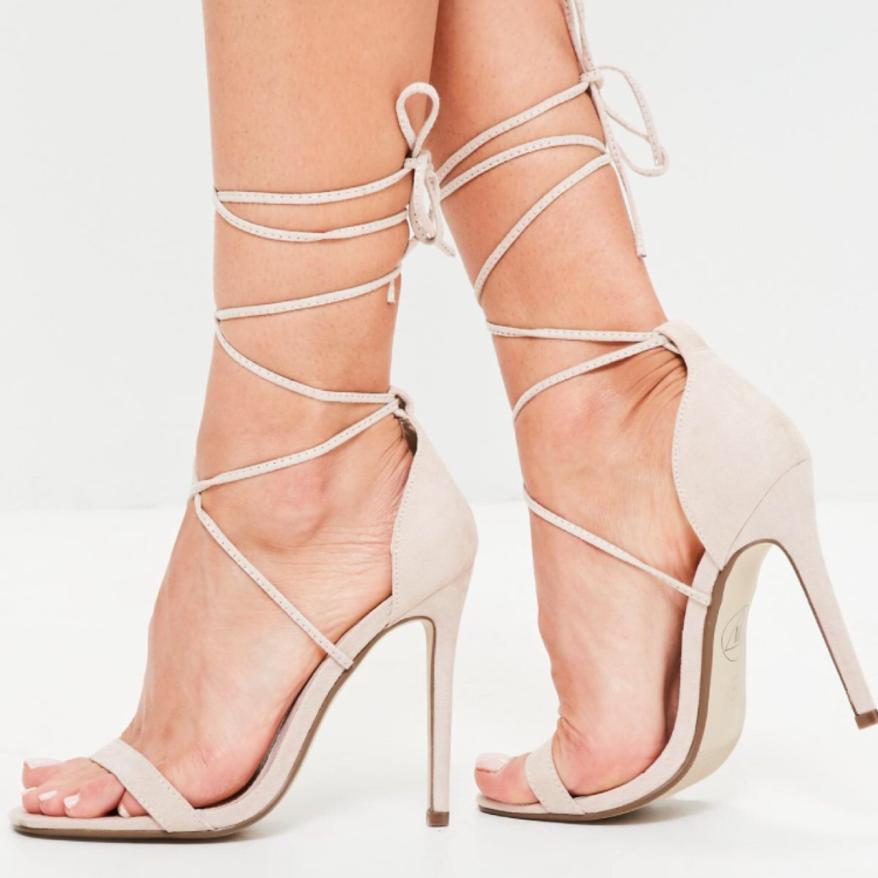 c8de0d8c1d Missguided lace up barely there nude heels. Size 6 and with - Depop