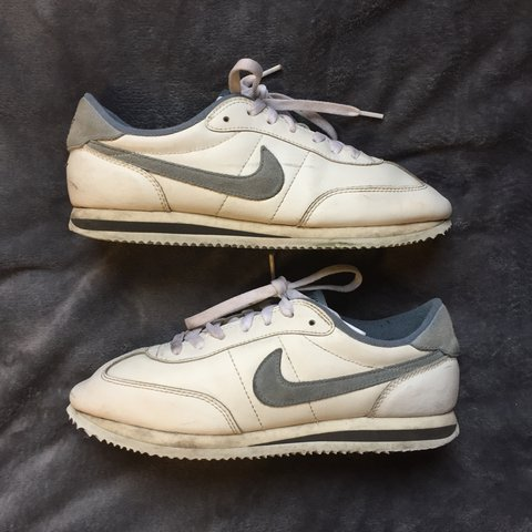 07d95116f1d5 Vintage 70 s Nike Cortez in white and grey baby blue. Rare a - Depop