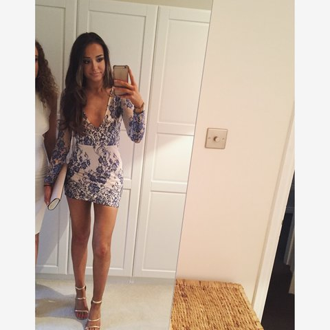 e872af6e539 Missguided blue and white lace dress size 8. Only worn once - Depop