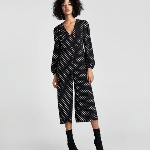 a3d3c86427 Zara black polka dot jumpsuit. New with tags. Size XS