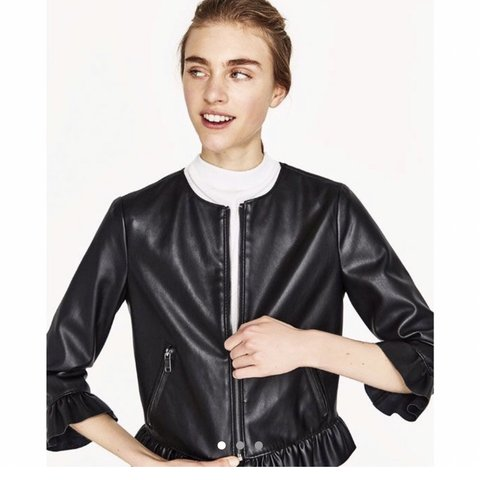 76753d15d7 @alexoudot. 6 months ago. London, United Kingdom. Zara black leather frill  jacket ...