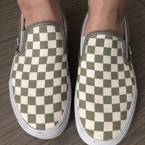 9d7a62016c13 Olive Green   Cream Checkered Slip On Vans Sneakers Size  8 - Depop