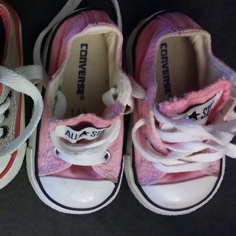 aef06a90ad9e Gently used pink and grey converse