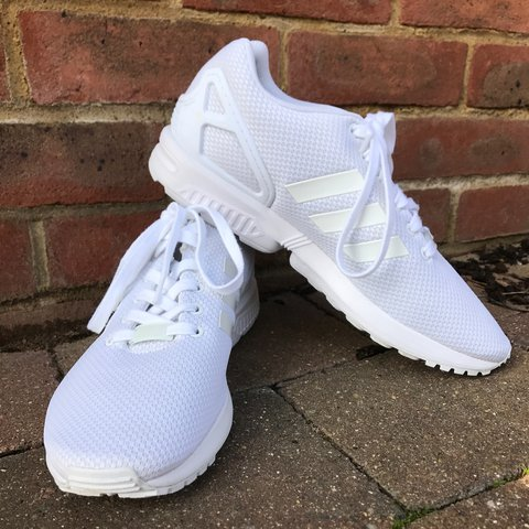 b76c7f14c Adidas Originals ZX Flux - White    Barely worn    Size 10 - Depop