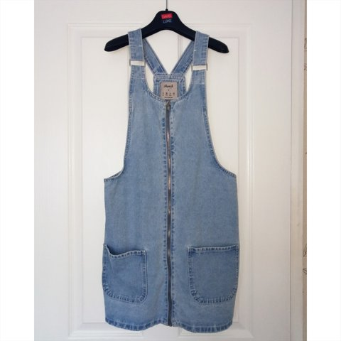 090c0ead Denim pinafore/dress with pockets- in great condition would - Depop