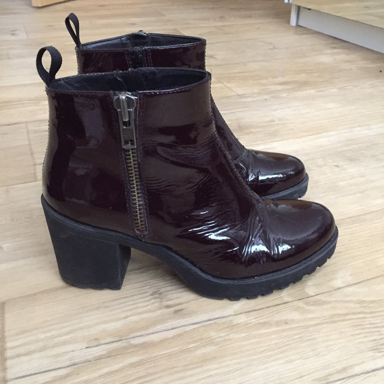 fe156926ad76 Vagabond  Grace  patent Chelsea ankle boot with chunky heel. - Depop