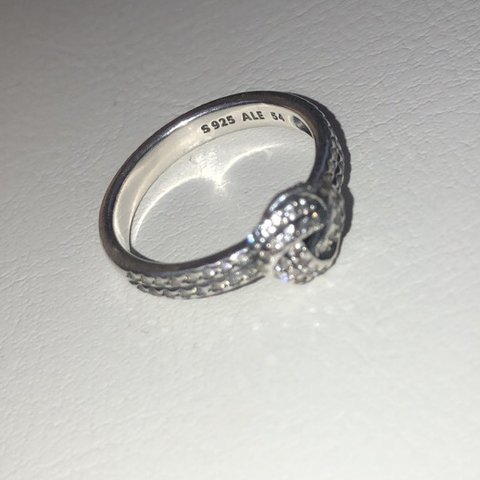 9c8176e64 Open to offers!! Pandora sparkling love knot ring, barely in - Depop