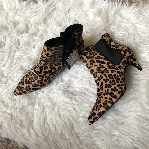 "e3e5b36b0fa4 Brand new Zara leopard skin ankle boots 2"" heel. New with - Depop"
