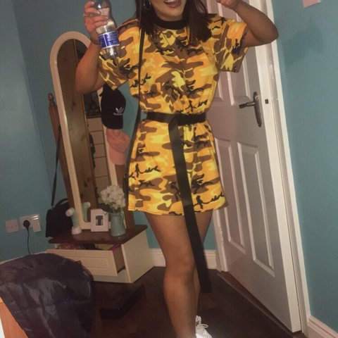 6a193c2200f8 Selling this yellow orange camo t shirt dress! Size 4 but a - Depop