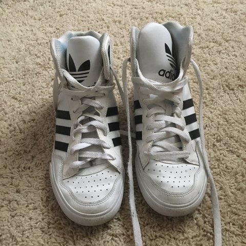 90s adidas high top sneakers. black and