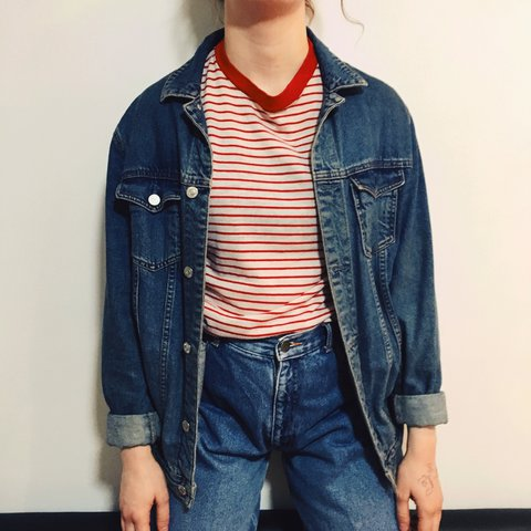 2d4f8caa45 PULL   BEAR denim jacket. Oversized look for size 8-10 fit - Depop