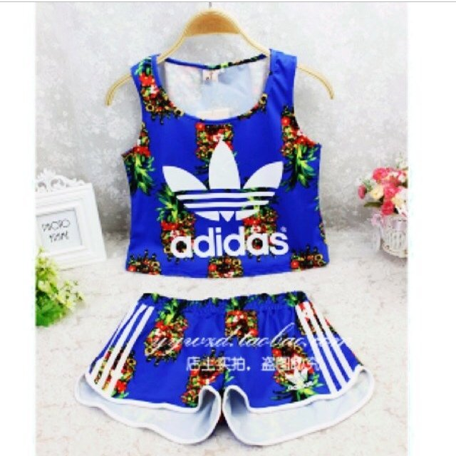 adidas two piece shorts and top