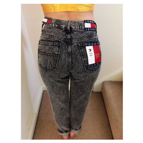 7295fbcb8 @stephaniehover. 2 years ago. Manchester, United Kingdom. New Tommy  Hilfiger Black Acid Wash Slim Fit High Waisted Jeans✨ Vintage look Mom Jeans✨  Size 10 ...