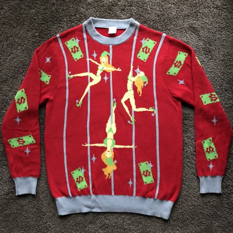 "53543bf8 @tristenschern. 7 months ago. Rohnert Park, United States. Pole Dancing  Elves ""ugly"" Christmas Sweater 🔥😂 Size: Mens L"