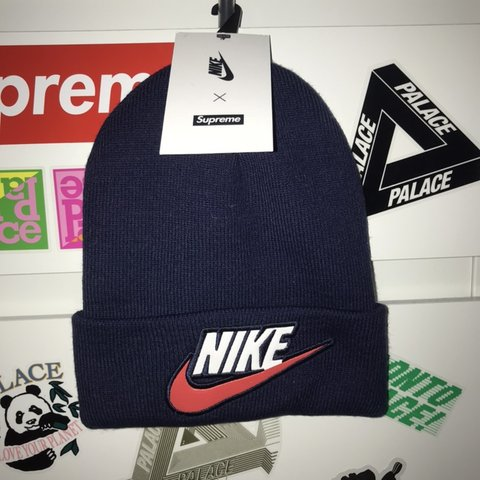 6292d35a896a3 Nike x Supreme beanie in navy Deadstock Need to sell asap - Depop