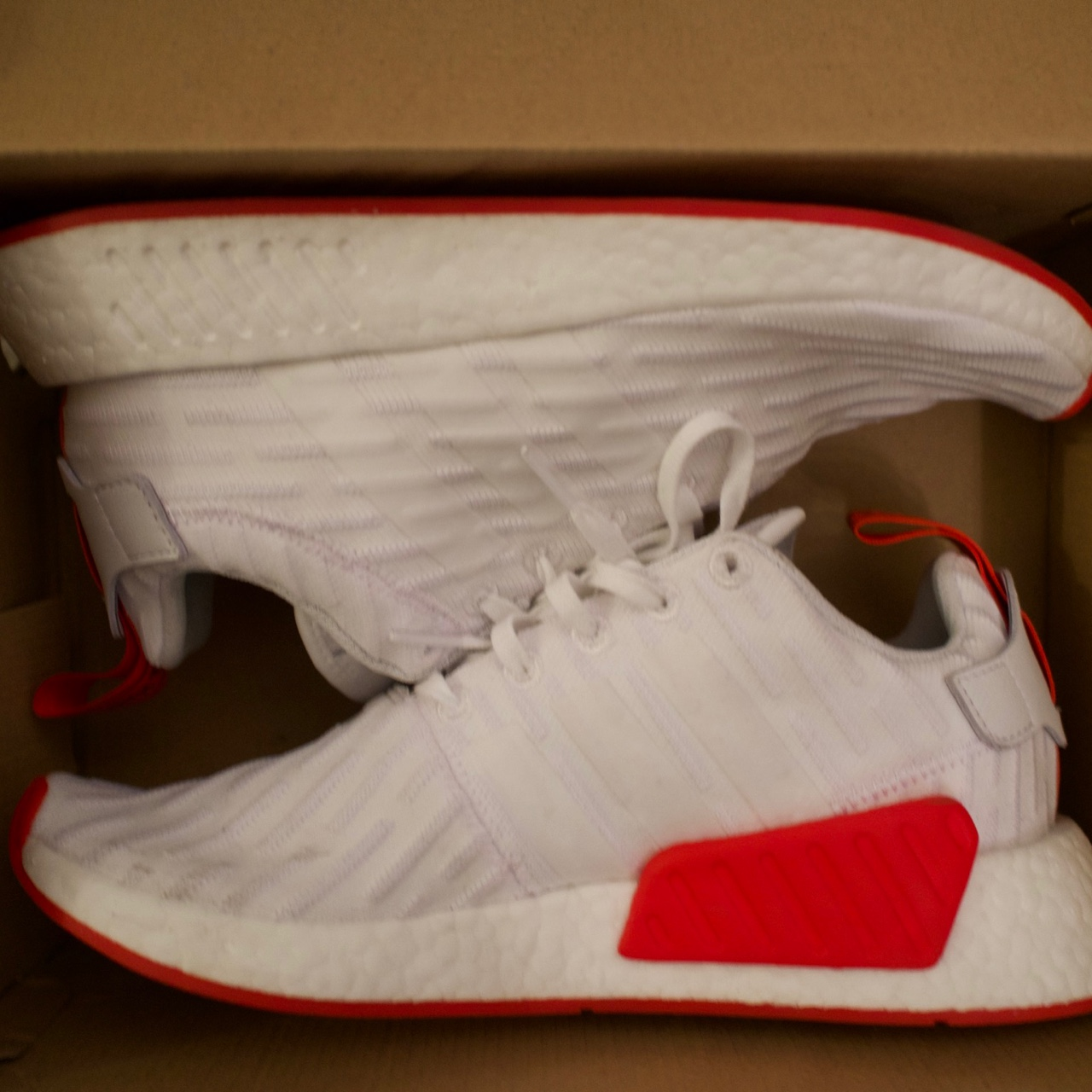 Adidas Nmd R2 Pk White And Red Only Worn Once Depop