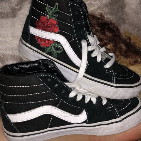 347c8389d78 Vans skate high shoes that have been customized with roses I - Depop