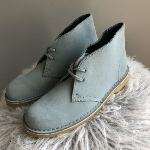 3c54785e9 Clark s Originals Suede Desert Boots in turquoise boots are - Depop