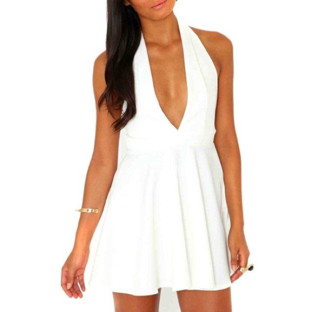 155147f96a63 Missguided Azira halter neck skater dress cream white plunge - Depop