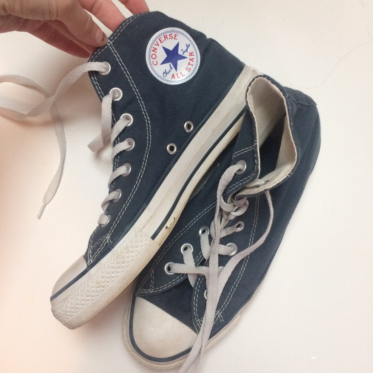 blue high top converse size 6. love these but they re a bit - Depop f516de457