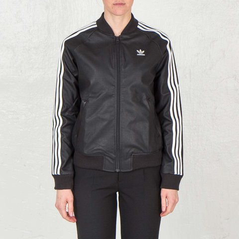 a51aaac80898 Adidas originals black faux leather jacket. With three white - Depop