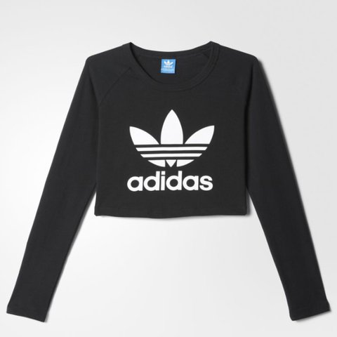1d497b7a589 @taniatells. 2 years ago. Hove, United Kingdom. Adidas Originals Black long  sleeve crop top / t-shirt with trefoil logo. Brand new ...