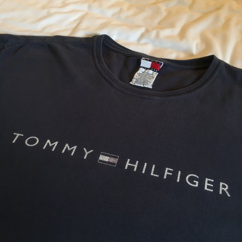 a8b588a5 @louisretro. 8 months ago. Oxted, United Kingdom. Vintage Navy Blue Tommy  Hilfiger Spellout Logo T-Shirt in Men's Size XL