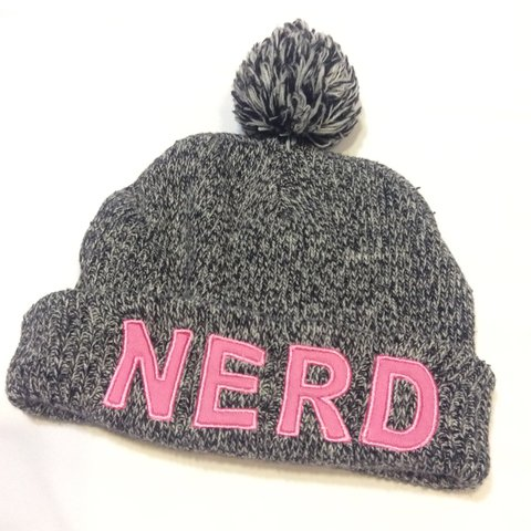 sale NERD 🤓!! Beanie charcoal Gray with white and black - Depop 6cc54d8c6676
